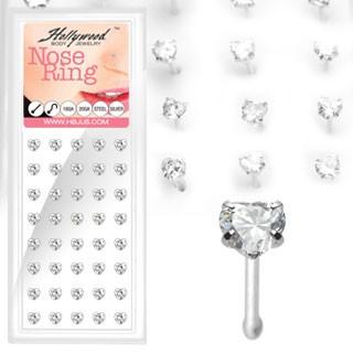 40 Stück Herz Nasenpiercings 925 Sterling Silber