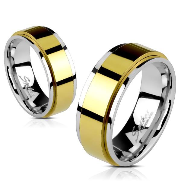 Ring Gold, Silber 316L Chirurgenstahl rostfrei zweischichtig