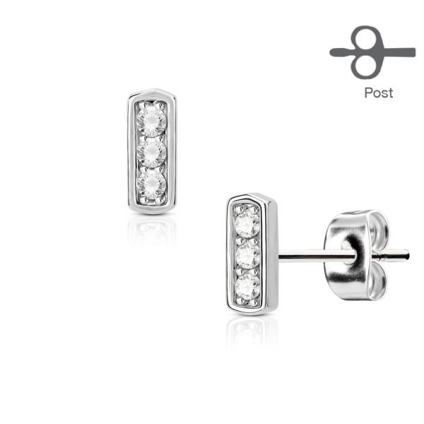 Ohrringe drei Zirkonia Set Quadrat Stab 316L - Ohrringe Stecker