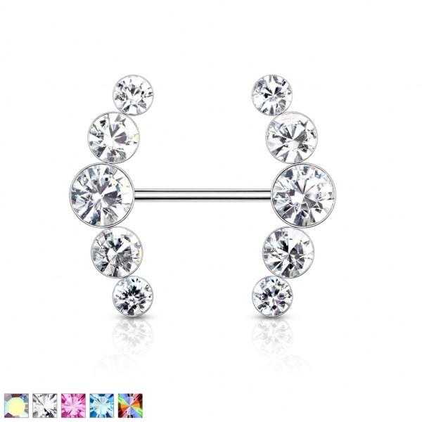 fünf runde Kristalle an beiden Enden Nippelpiercing Hantel Barbell