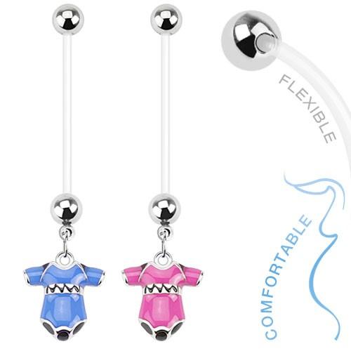 Schwangerschaftspiercing Baby Strampler Blau Bauchnabelpiercing Junge