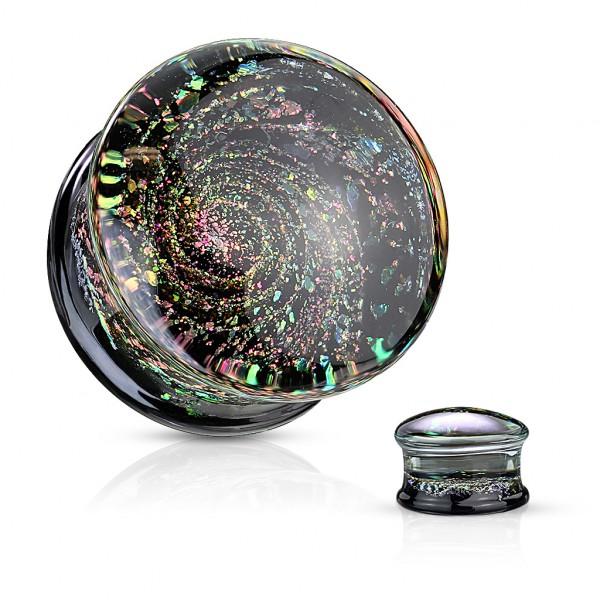 mehrfarbig glänzende Galaxie Double Flared Glas Plugs