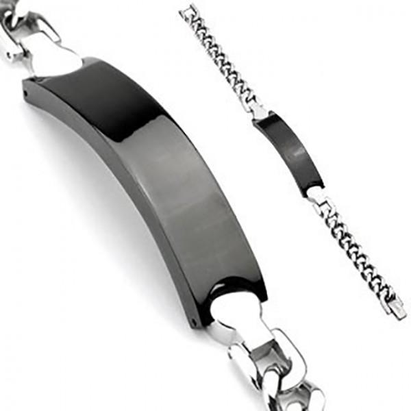 Schwarz Engravable Plate Ring 316L Chirurgenstahl Kette Armband
