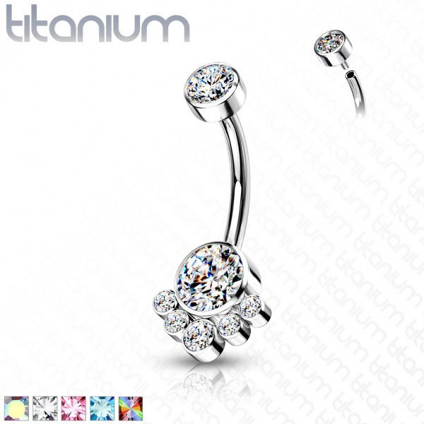 Zirkonia Pfote Bauchnabelpiercing Titan 23G Internally Threaded Banane Curved Barbell