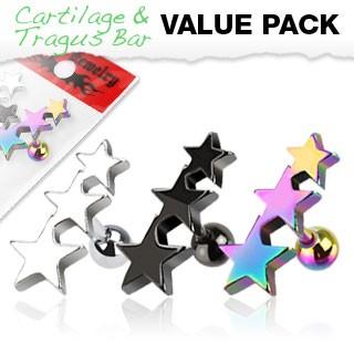 3er Pack Cartilage Tragus Piercing Sterne