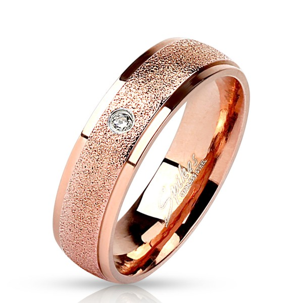 Ring Sand rosegold Kristall Edelstahl