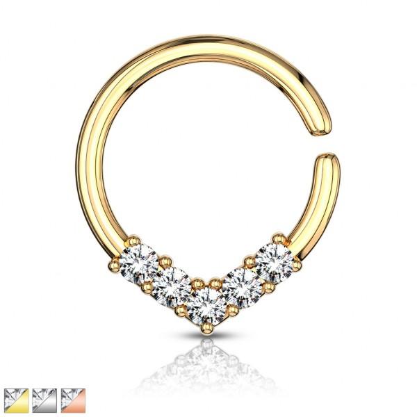 5 Kristalle in V form biegbar Ring für Helix Tragus Septum