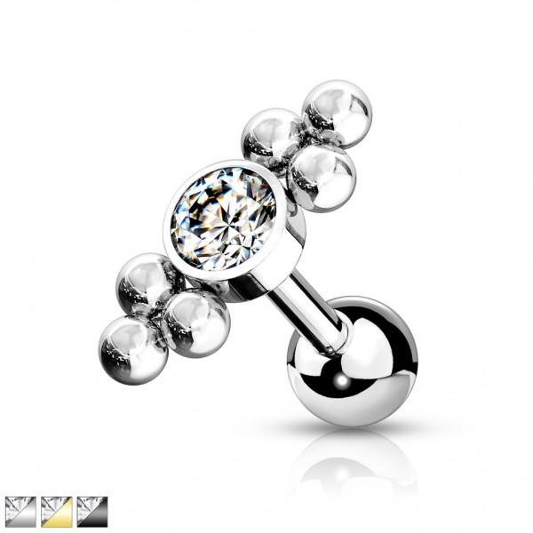 Kristall mit Kugeln Dreieck flach Chirurgenstahl 316L Cartilage Helix Piercing Stud