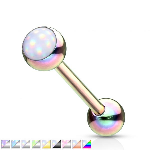 Glänzender Stein Barbell Piercing Stab Zungenpiercing