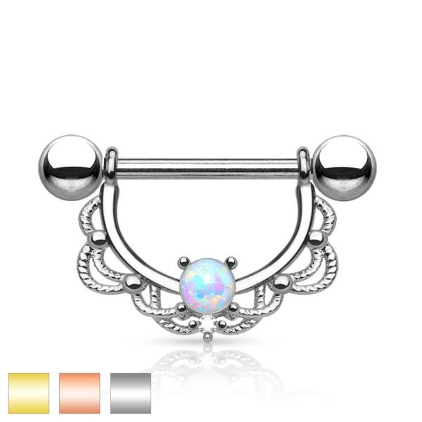 Nippelpiercing Silber Opal
