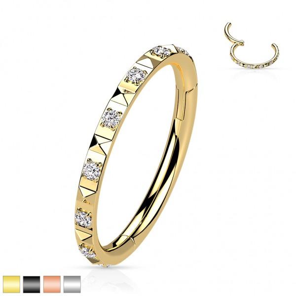 Segment Ring Clicker mit Zirkonias in Pavee Fassung