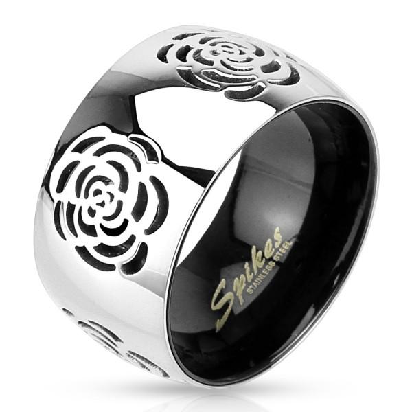 Ring Rose zweitönig silber schwarz Edelstahl