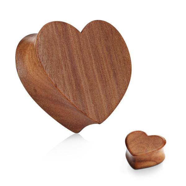 Herz Flesh Plug Organic Holz