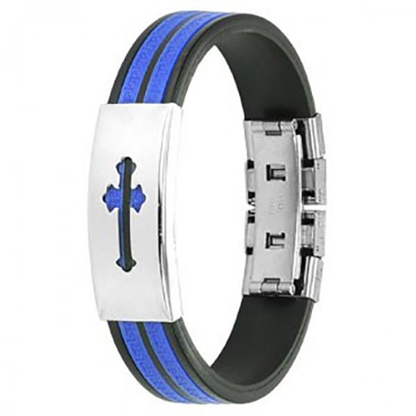 mittelalterliches Kreuz Ring 316L Chirurgenstahl - Plate - Labyrinth Gummibänder Armband