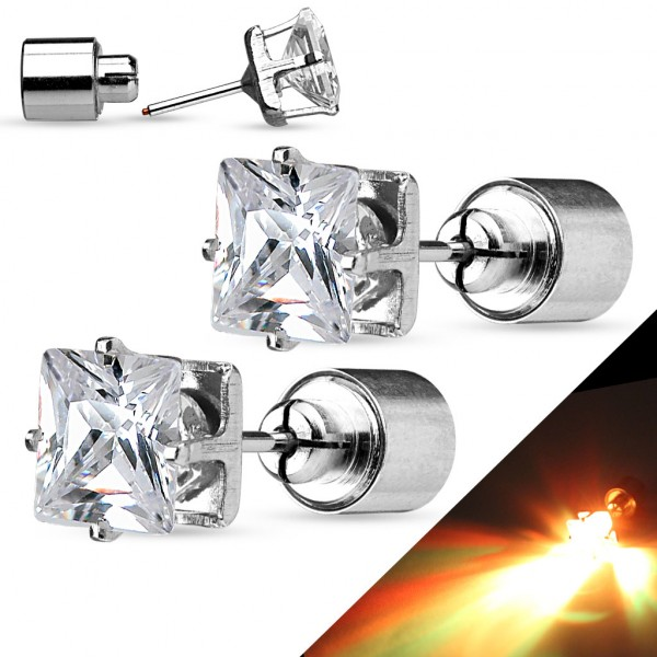 ein Paar LED blinkend Klar Quadrat Zirkonia 316L Chirurgenstahl besetzt Earrings. Batterie Included.