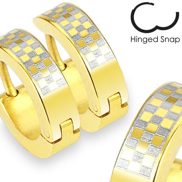 ein Paar Ring 316L Chirurgenstahl Gold plattiert Ohrring mit Karo Design