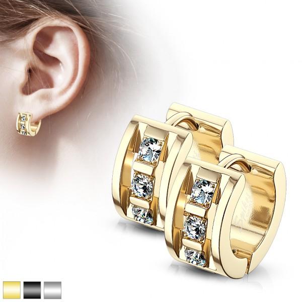 ein Paar Creolen Ohrringe mit 3 Kristallen, 316L Chirurgenstahl, rostfreier Stahl