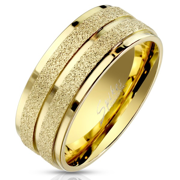 Ring gold, Sandband, abgestuften Kanten, Edelstahl