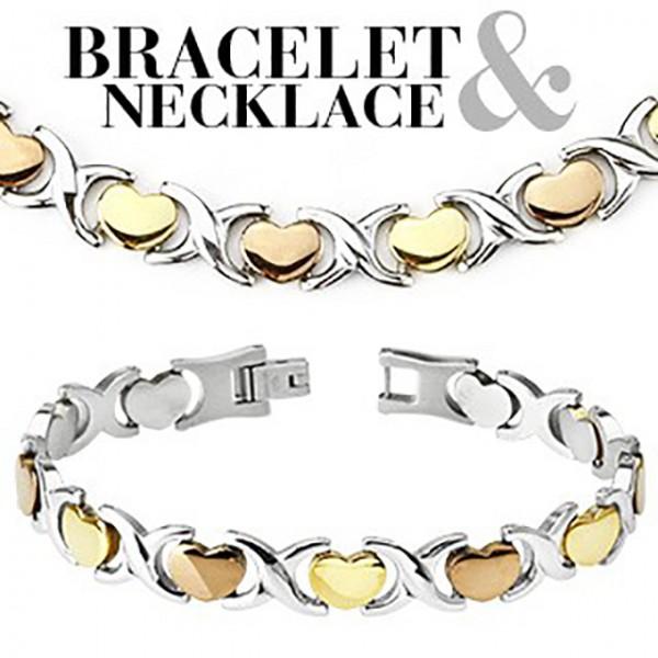 - Herzen Ring 316L Chirurgenstahl Armband & Halskette Combo Set