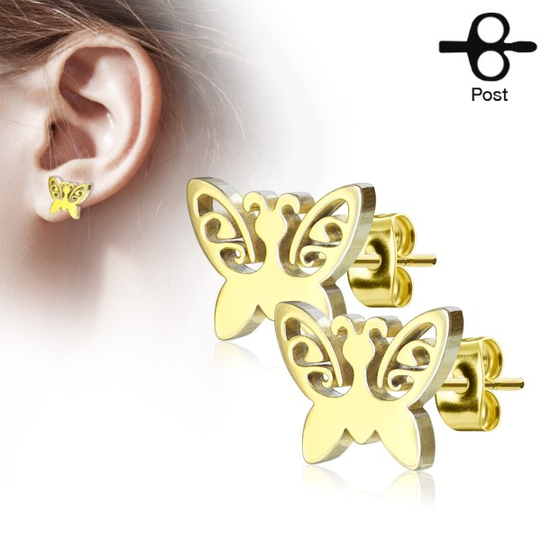 Schmetterling Ohrstecker 316L Chirurgenstahl gold