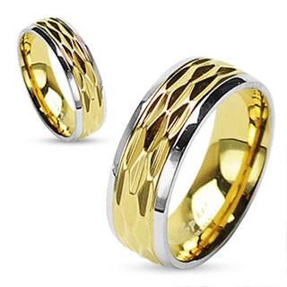 Dia Schnitt Gold glitzernd 316L Chirurgenstahl Ring