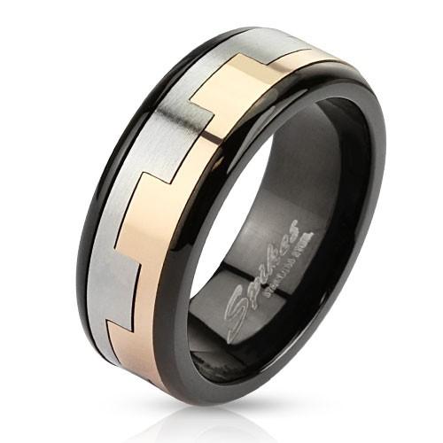 Ring Edelstahl schwarz zweitönig quadratisches Muster