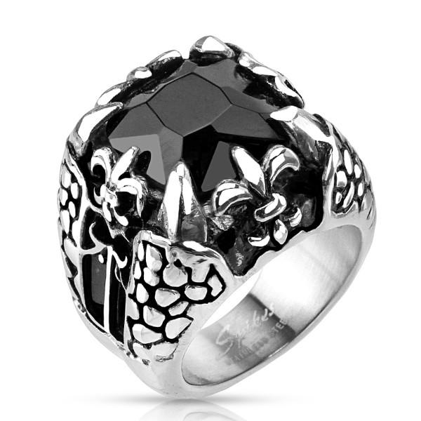 Ring Onyx Stein schwarz quadratisch Fleur de Lis Drachenklaue Edelstahl