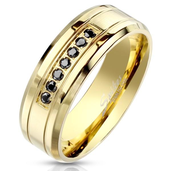 Ring 7 schwarze Kristalle gold Edelstahl abgeschrägte Kanten