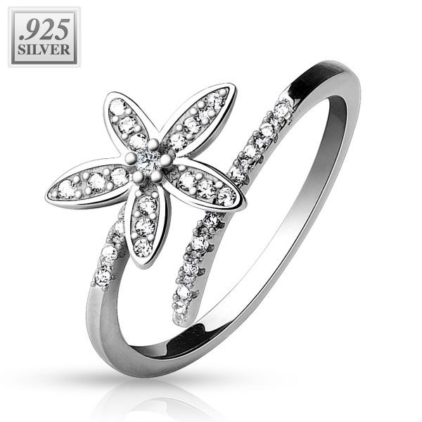 Fußring Silber Blume Diamant 925 Sterling
