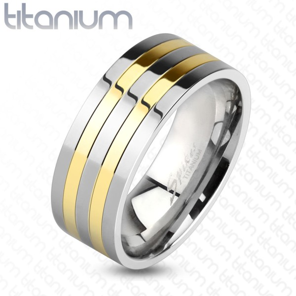 Ring silber gold Titan