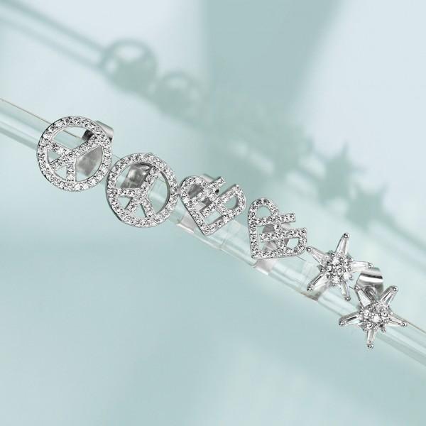 1 Paar Ohrringe Herz Zirkonia Stecker Silber 925.