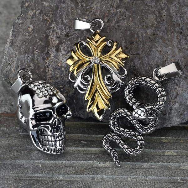 Lilie Kreuz Anhänger Silber Gold Diamanten Stahl