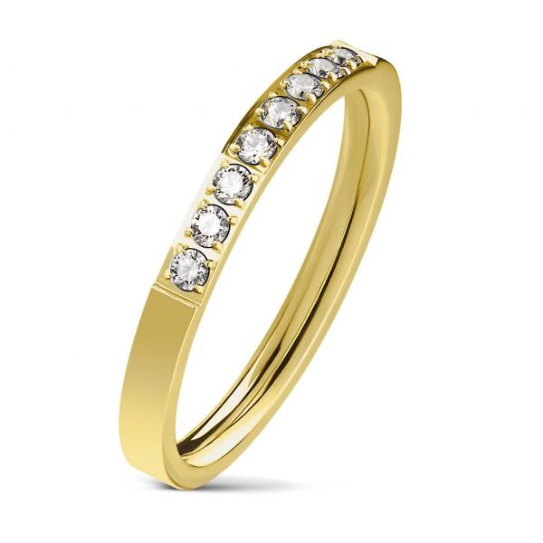 Ring gold 8 Kristalle Edelstahl
