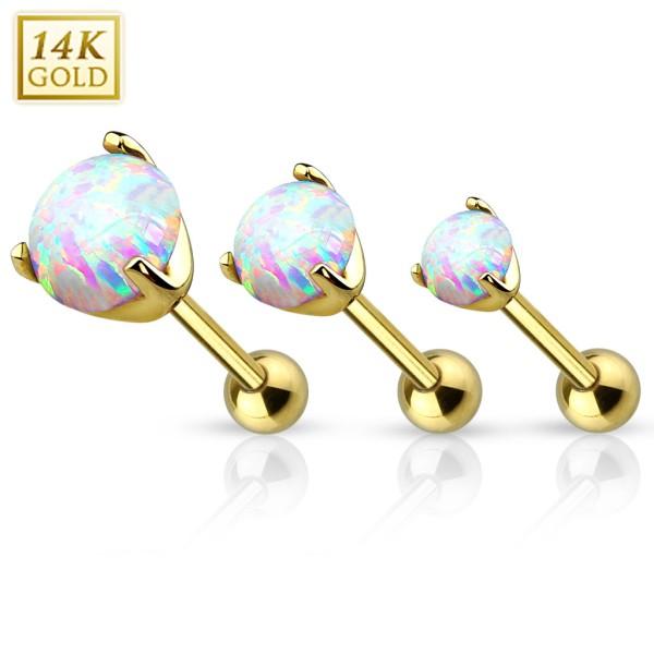 Opal 14 Karat Gold Cartilage Tragus Piercing