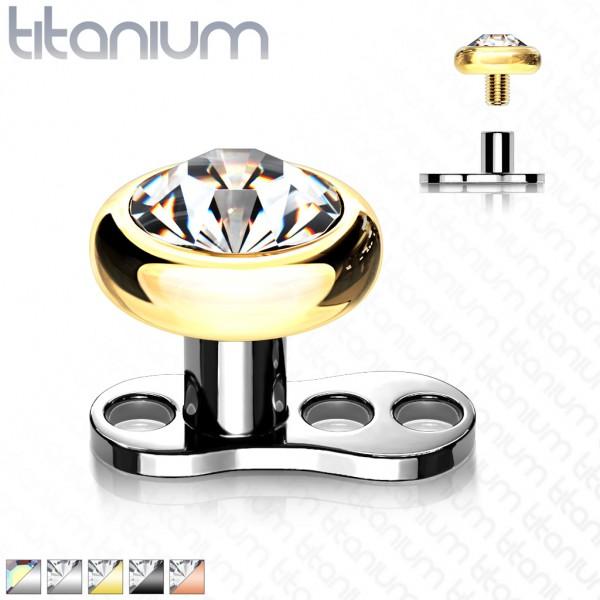 Kugel Zirkonia Titan Schwarz Gold 16 Gauge Dermal Anchor 3-Loch Internally Threaded