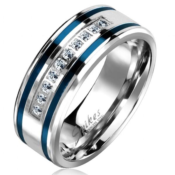 Ring 10 Kristalle Silber Blau Edelstahl