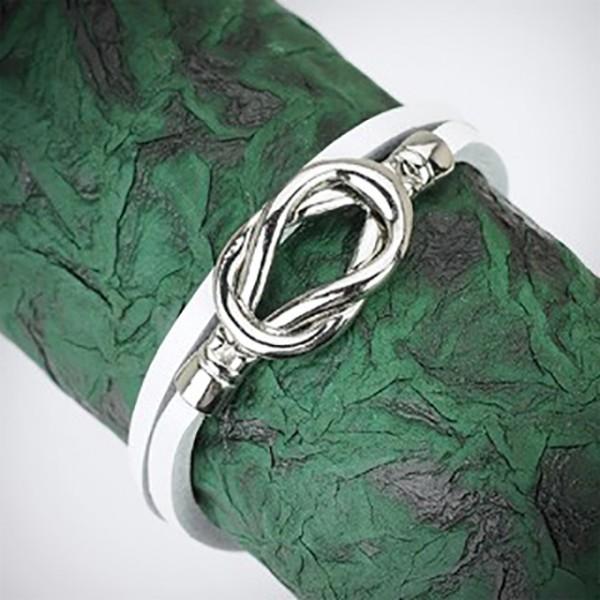 Weiss Leder Doppel Schleife Armband mit Stahl Knoten Verschluss Design