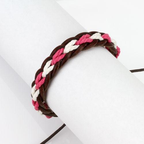 Lederarmband Braun Pink Weiß geflochten