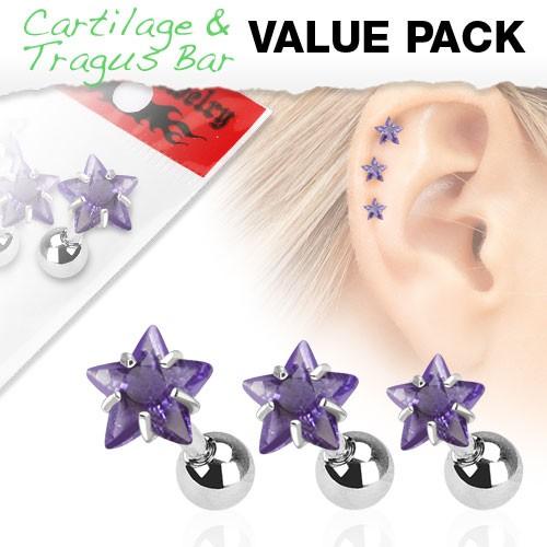 3er Pack Zirkonia Cartilage Tragus Piercing Stern Violett
