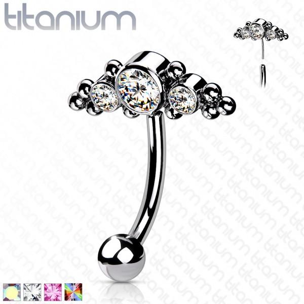 Titan Augenbrauen Banane Curved Piercing mit 3 Kristallen