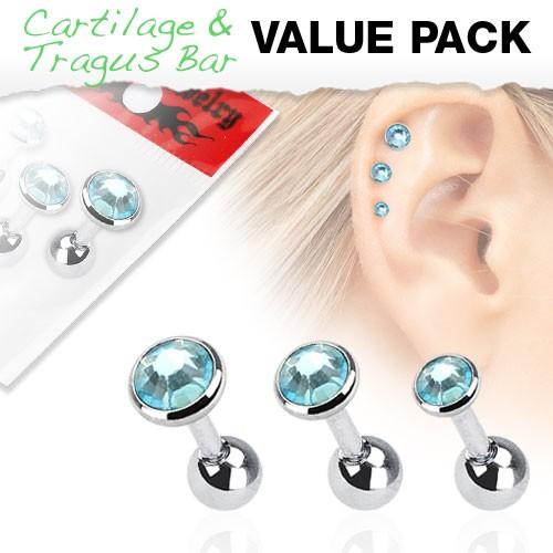 3er Pack Zirkonia Cartilage Tragus Piercing blau