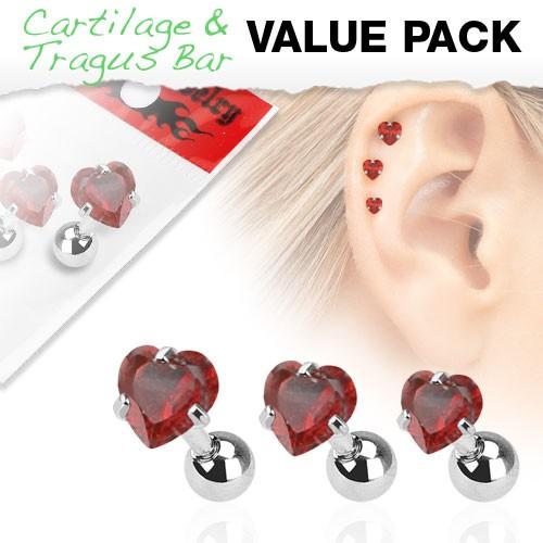 3er Pack Zirkonia Cartilage Tragus Piercing Herz Rot