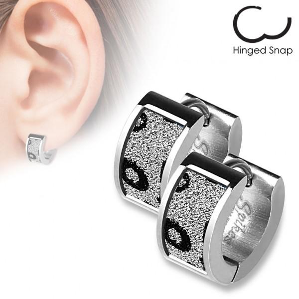 ein Paar Ring 316L Chirurgenstahl Ohr Ringe mit Quadrat Leopard Sand Glitzer