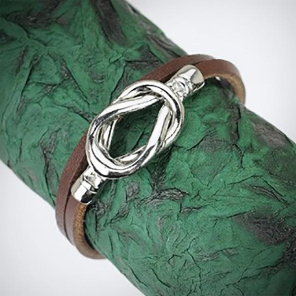 Lederarmband Braun Doppel gewickelt Silber Knoten Anhänger