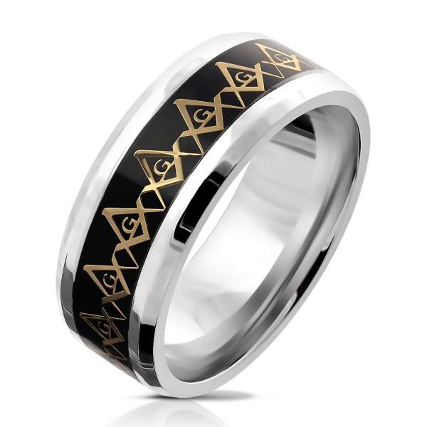Ring Freimaurer Kompass gold schwarz Edelstahl