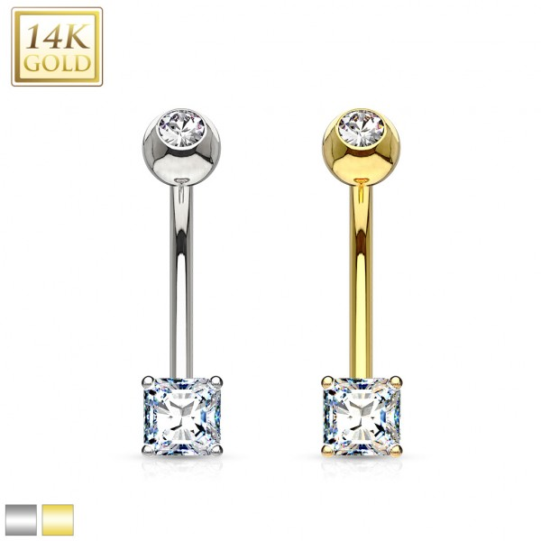 Quadrat Bauchnabelpiercing 14 Karat Gold