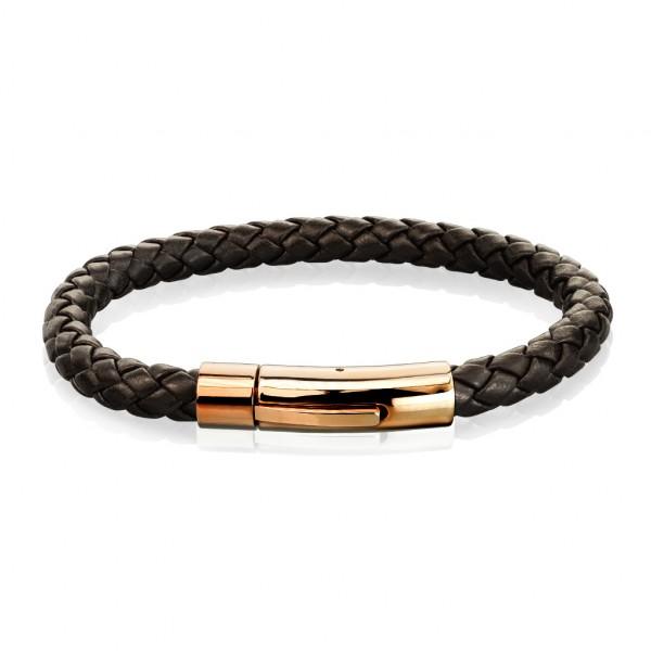brauner Bolo geflochtener Strick mit Rosegoldenem Verschluss, rostfreies Stahl, Leder Armband