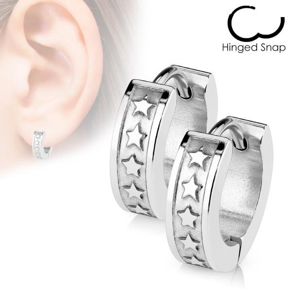 ein Paar Chirurgenstahl - Ohrring mit 5 Stern Logos