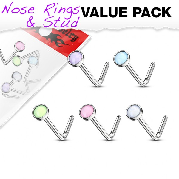 5 Stück Nasenpiercing Nasenstecker Steine Stab L Form