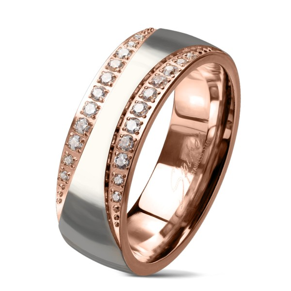 Ring zweitönig Kristallbesetzte Kanten, Stahl poliert rosegold Edelstahl